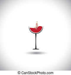 red wine with bubbles in wine glass - abstract vector...
