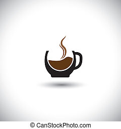 freshly brewed coffee in a porcelain mug - abstract vector...