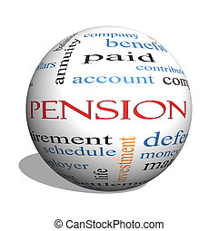 Pension 3D sphere Word Cloud Concept with great terms such...