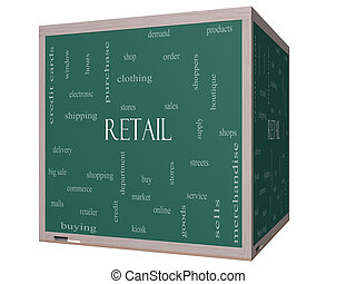 Retail Word Cloud Concept on a 3D cube Blackboard