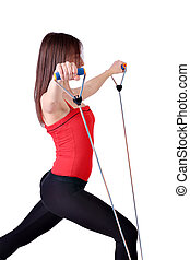 girl fitness exercise healthy lifestyle on white