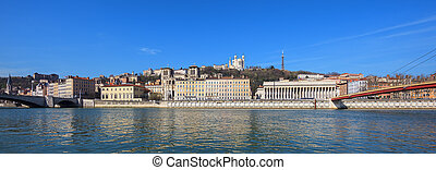 Panoramic view of Lyon city with blue sky, France