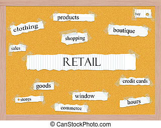 Retail Corkboard Word Concept with great terms such as...