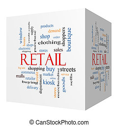 Retail 3D cube Word Cloud Concept