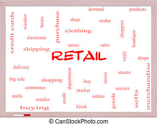 Retail Word Cloud Concept on a Whiteboard