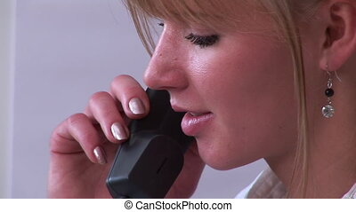 Close up of woman on phone