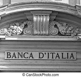 door of the main entrance of the Bank of Italy in Rome