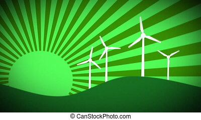 Windmill Farm Green - Animated Green Windfarm with Turbines...