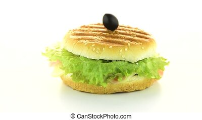 Hamburger rotating on white background.