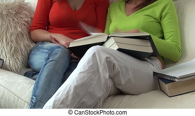 Two Teenagers Studying at home on the sofa