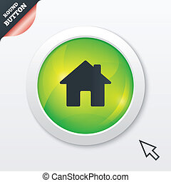 Home sign icon Main page button Navigation symbol Green...