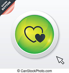 Hearts sign icon Love symbol Green shiny button Modern UI...