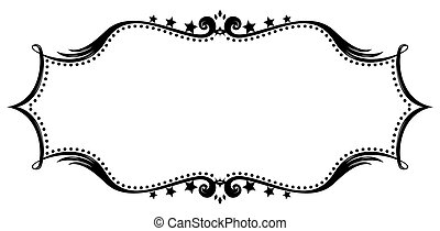 Retro frame silhouette - Black retro frame isolated on white...