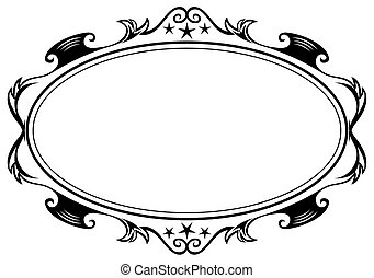 Antique oval frame - Elegance black antique frame isolated...