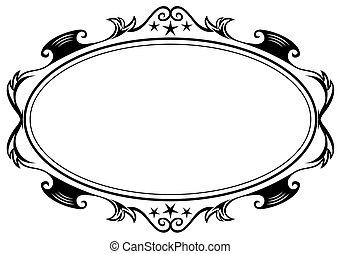 Antique oval frame - Elegance black antique frame isolated...