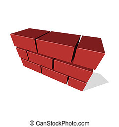Brick Wall Icon 3D on White Background. Vector illustration