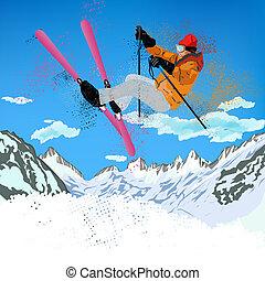 Extreme Skiing - Freestyle Skiing.Mountain skiing.Extreme...