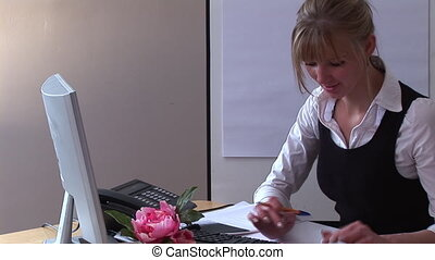 Business Woman at Work in Home Office - 1