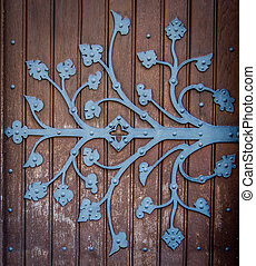 Ornate Church Door Hinge - Rustic Ornametal Hinge On A...