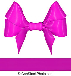 Magenta ribbon bow on white background