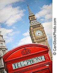 Red telephon box and Big Ben in London, UK