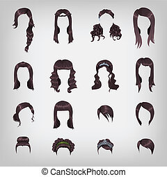 Assortment of female brunette hair - Set of sixteen...