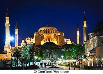 Hagia Sophia at night - The Hagia Sophia at night, Istanbul,...