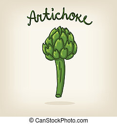 Vector cute hand drawn shiny artichoke