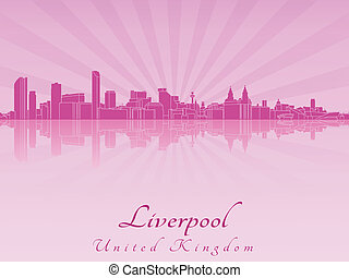Liverpool skyline in purple radiant orchid in editable...