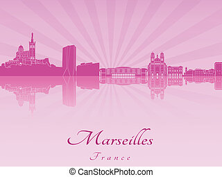 Marseilles skyline in purple radiant orchid in editable...
