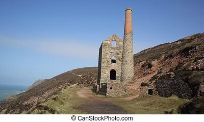 Cornish tin mine near St Agnes Beacon Cornwall on the South...