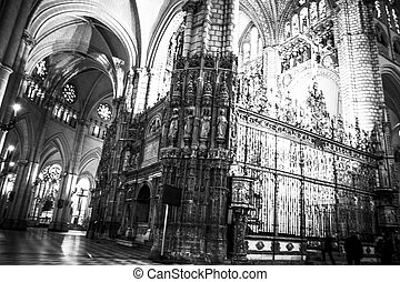Cathedral interior, gothic style, spanish church
