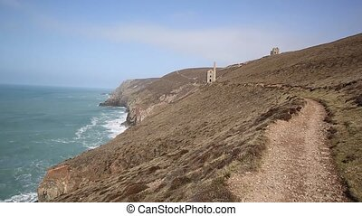 Tin mine and Coast Path Cornwall - Coast Path Cornwall...