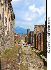 Pompeii, Italy. The ruins of the Roman city of Pompeii circa...