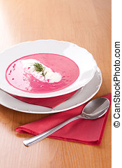 Farmer soup, cream and red beets