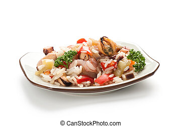 vegetables with rice and seafood