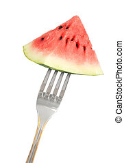 Slice of red watermelon on a fork