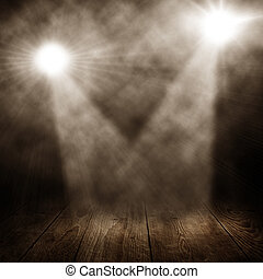 two spotlights in a room with wooden floor