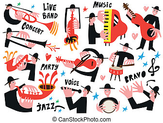 jazz musicians - vector illustration set icartoons