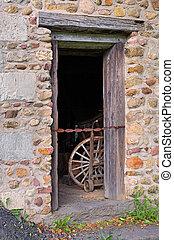 bâtiment, porte, vieux
