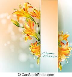 Yellow lilies flowers background Spring flowers invitation...