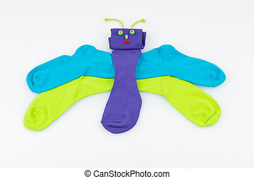 socks in the form of a butterfly
