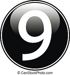 Black number nine button