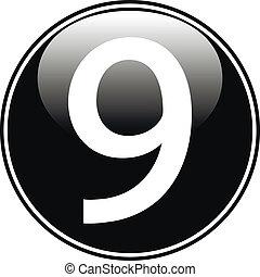 Black number nine button