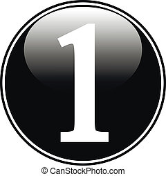 Black number one button on white background.
