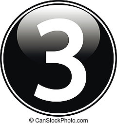 Black number three button on white background.