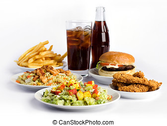 Fast food on white background
