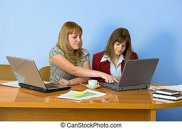 桌子, 工作, 女孩, 坐