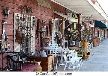 Sidewalk Display of Antique Shop Landscape - Sidewalk...