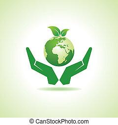 save earth or go green concept vector